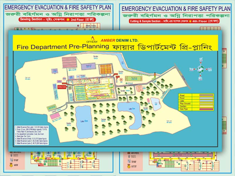 Fire Safety Evacuation Floor Plan, Fire Department Pre-Planning, Load Plam, Smoke Detector Plan and Fire Hydrant Plan